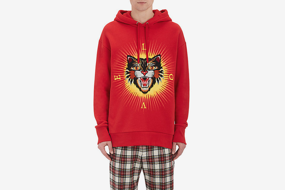 Tiger-Patch Cotton Terry Hoodie