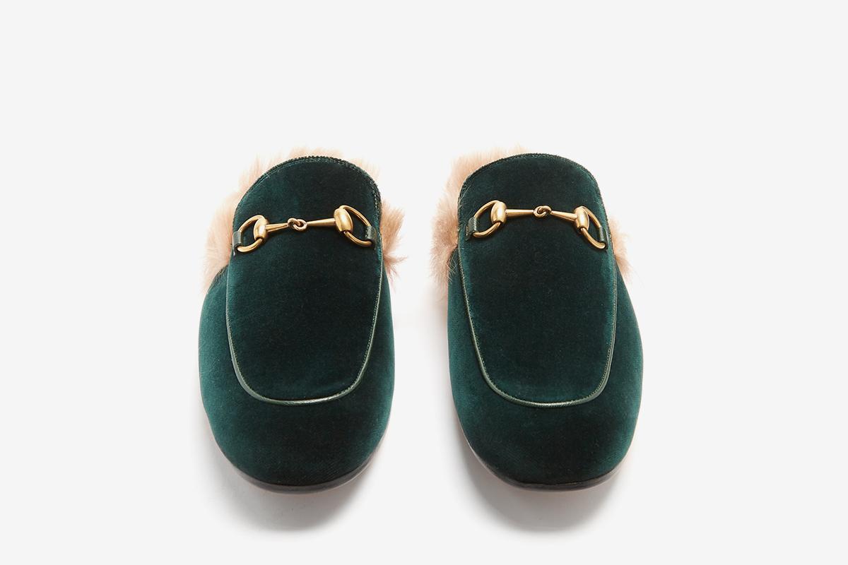 Princetown fur-lined velvet loafers