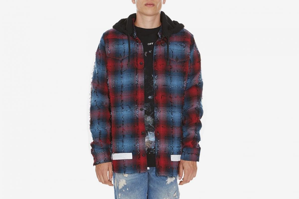 Diagonal Check Hooded Shirt