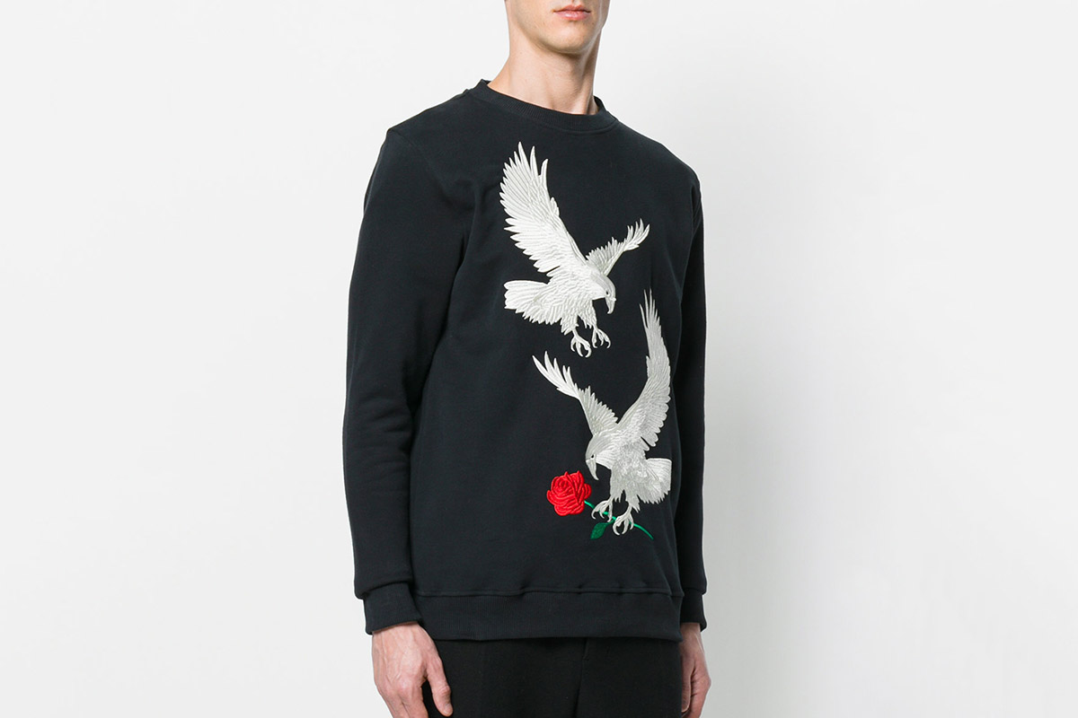 Eagle-Embroidered Sweater