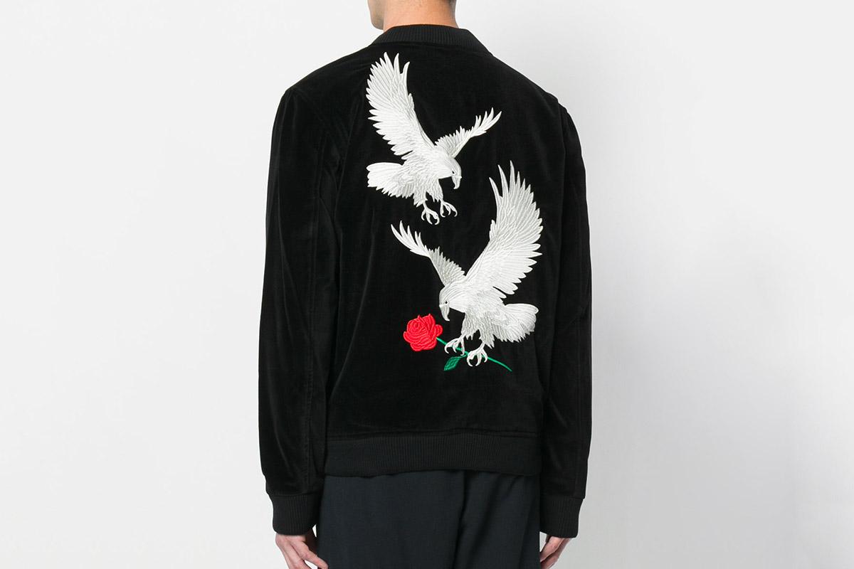 Eagle-Embroidered Bomber Jacket
