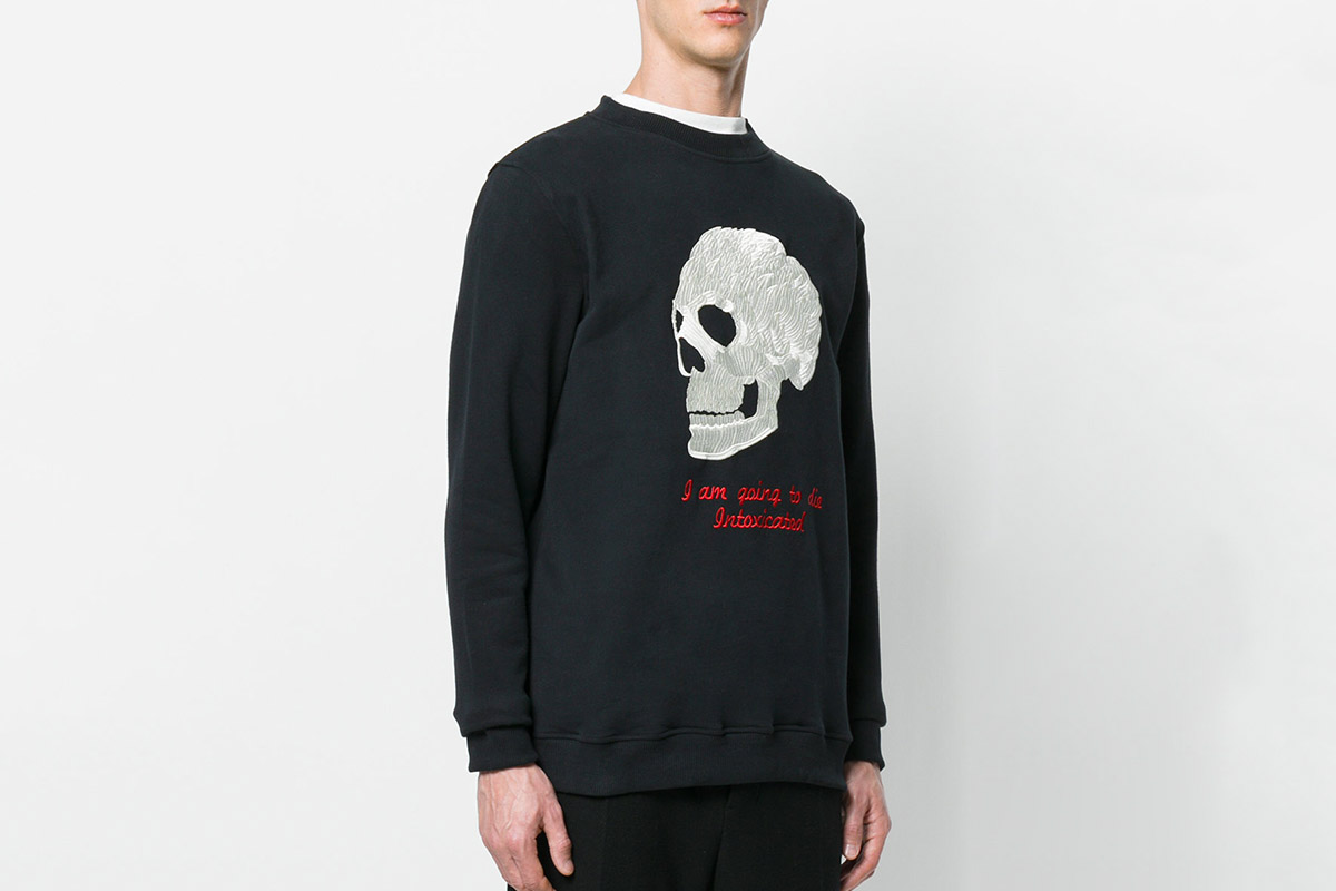 Skull-Embroidered Sweater