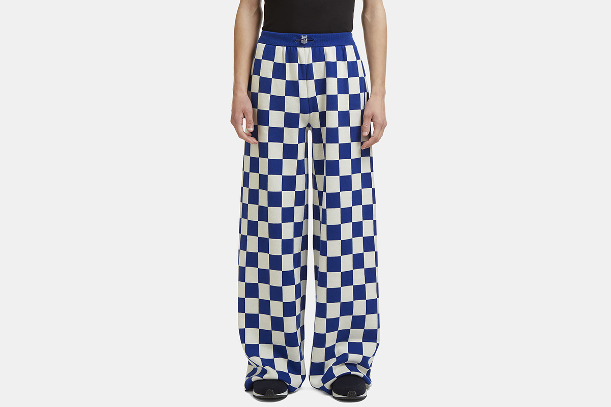 Checked Knit Wide-Leg Pants