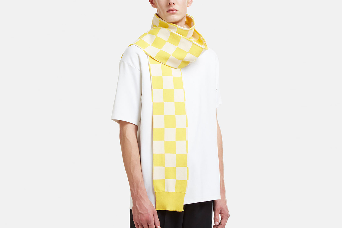 Checked Knit Sleeve Scarf