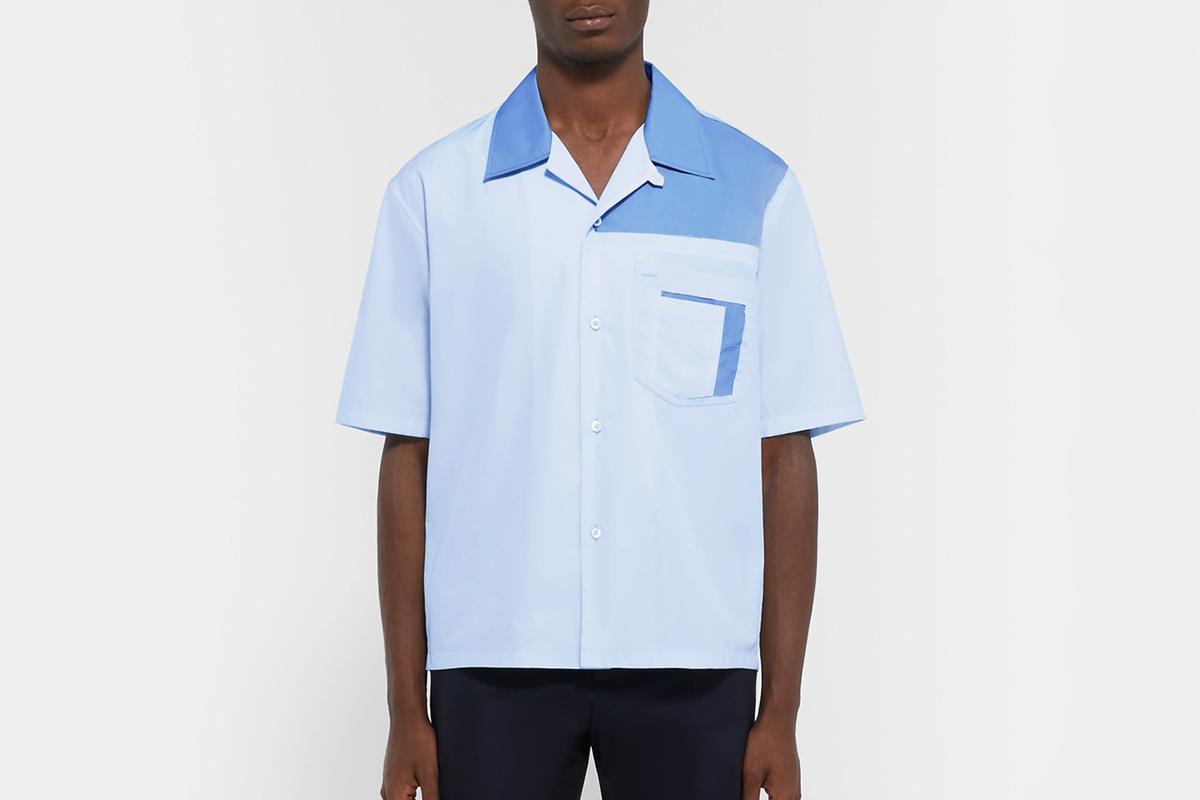 Camp-Collar Poplin Shirt