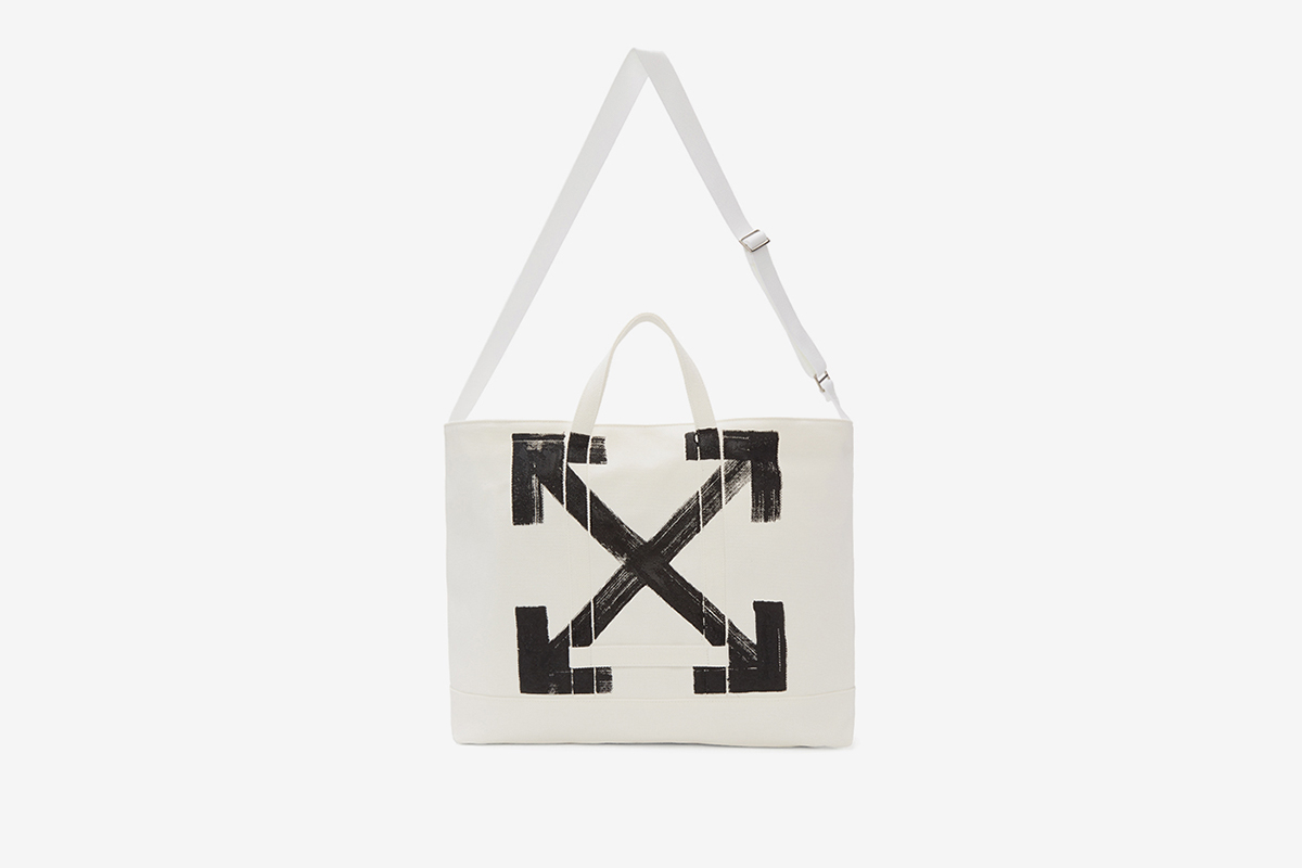 White Brushed Arrow Tote Bag