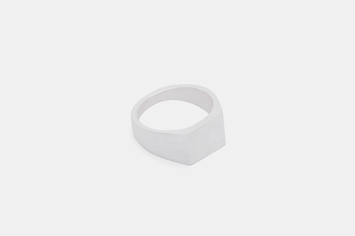 Platform Brushed And Polished Signet Ring In Silver