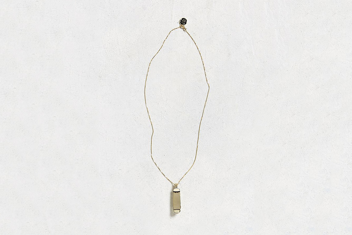 14K Gold Skateboard Necklace