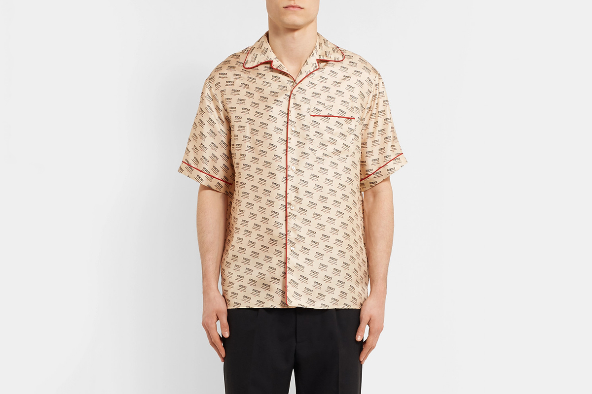 Piped Logo Silk Shirt