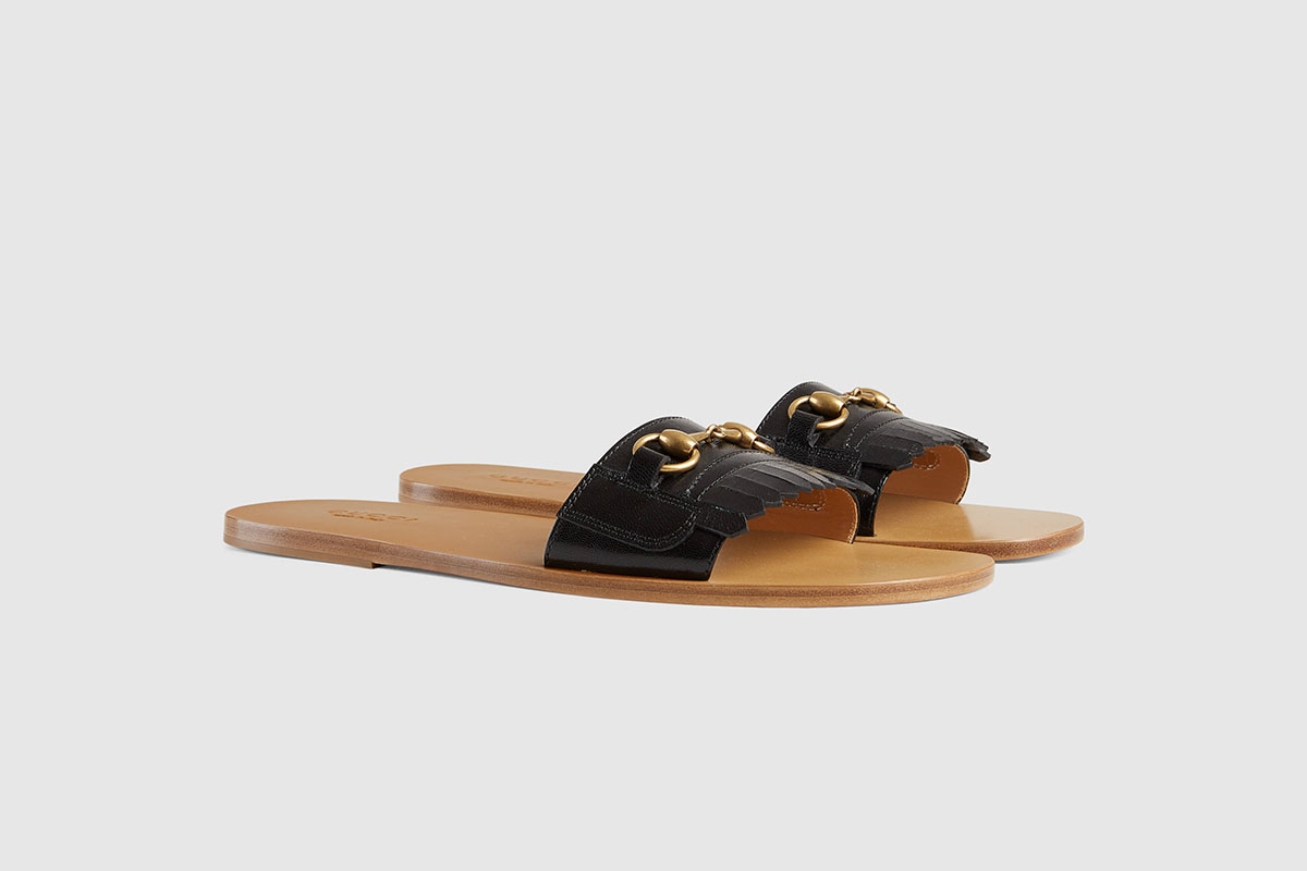 Fringe Leather Horsebit Slide