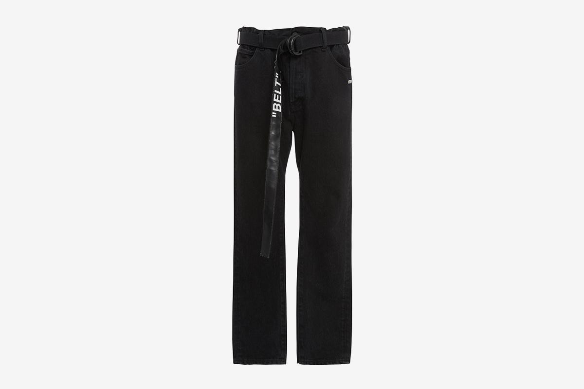 Belted Slim-Leg Jeans