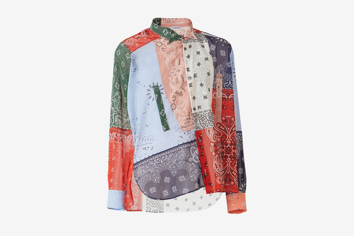Aymmetric Bandana Patchwork Shirt