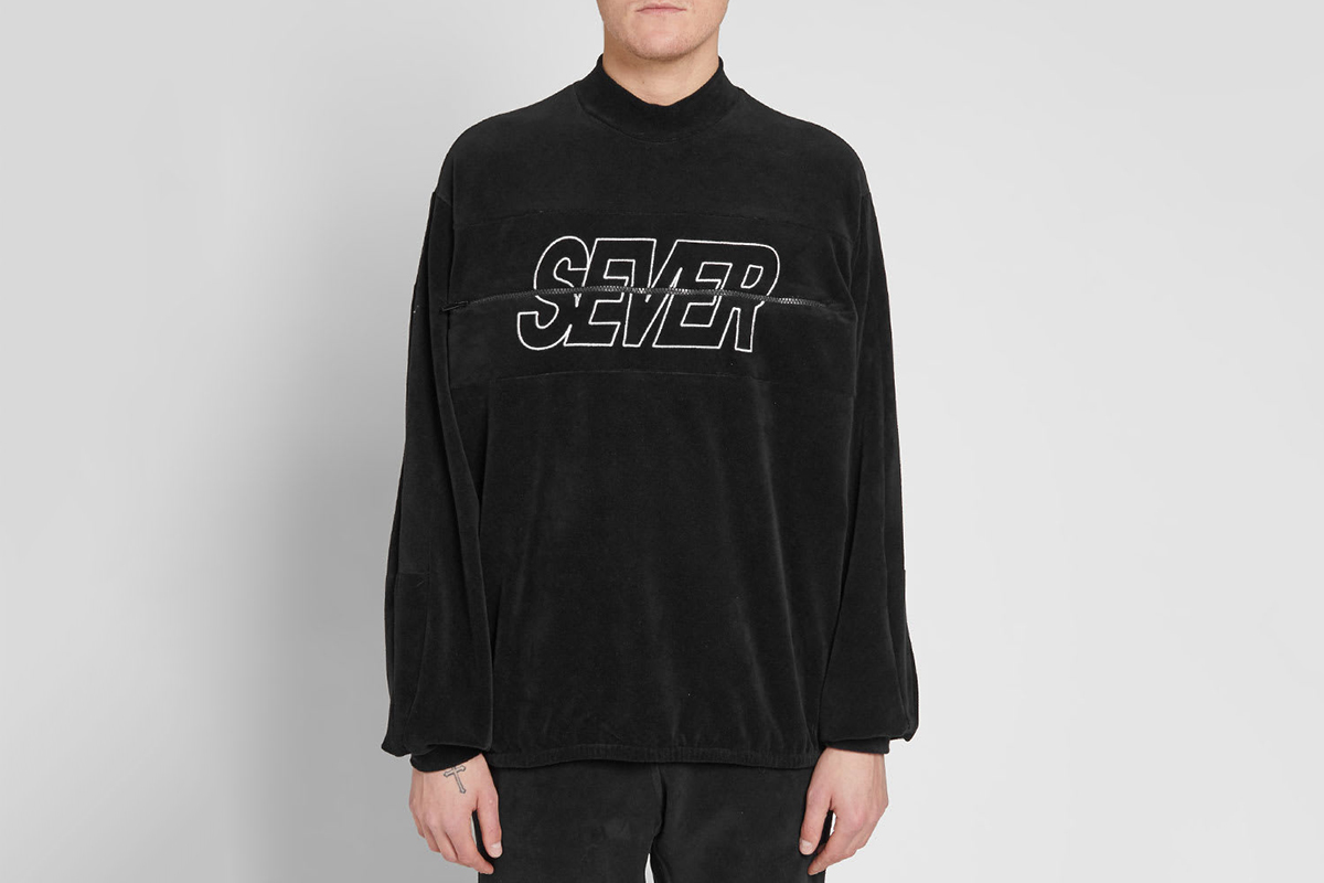 Embroidered Velour Sweater