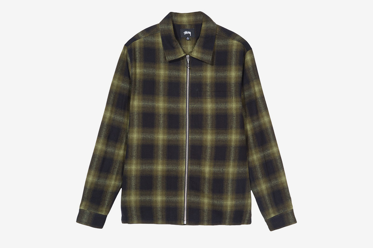 Zip Up Shadow Plaid Shirt