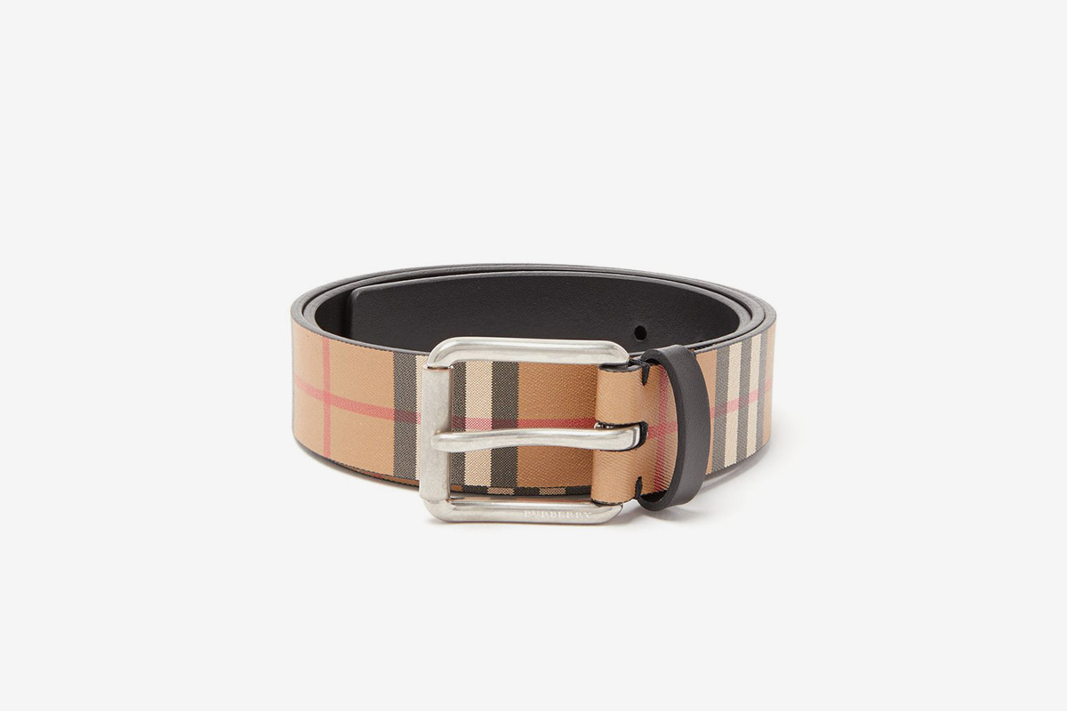 Vintage Check Leather Belt