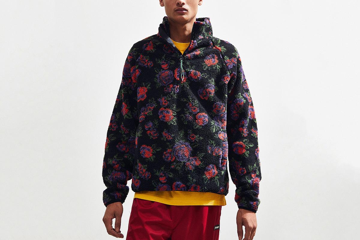 Floral Sherpa Pullover Jacket