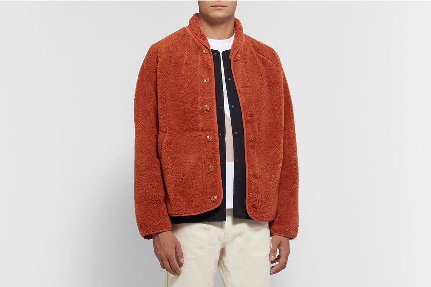 Shawl-Collar Fleece Jacket
