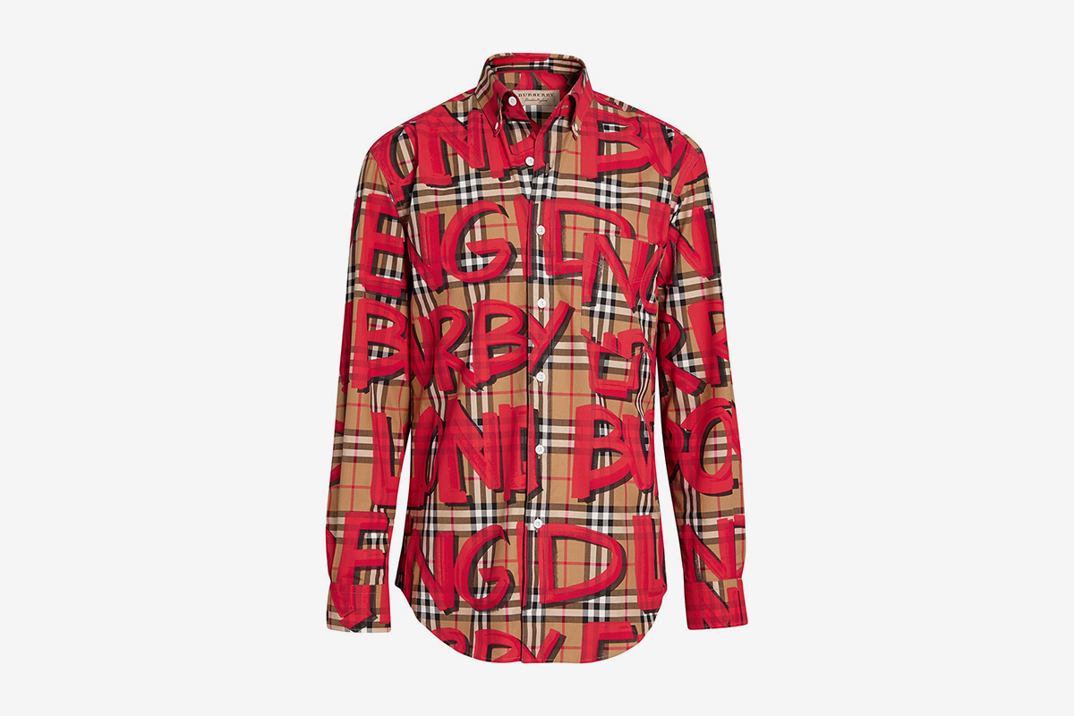 Graffiti print Check Shirt