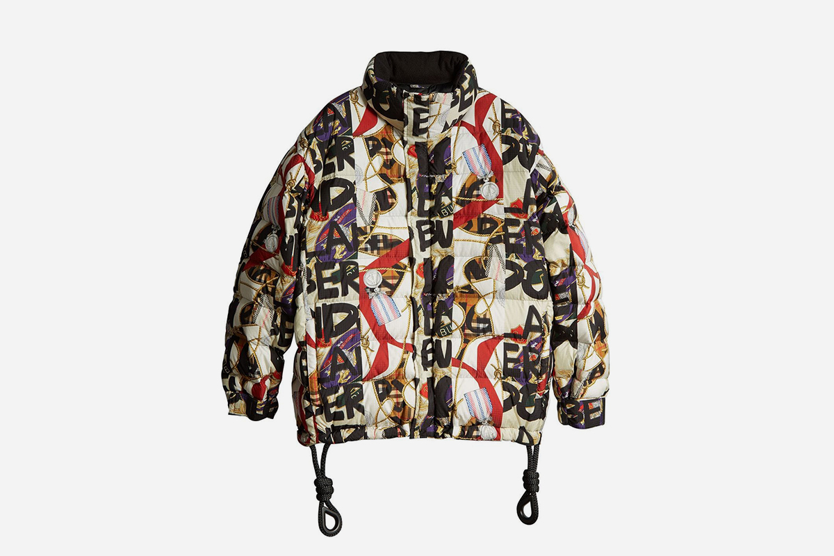 Graffiti Print Puffer Jacket