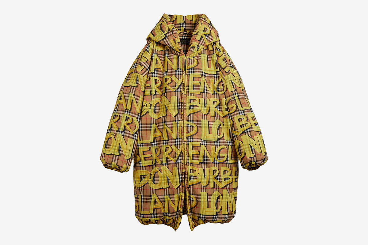 Graffiti Print Vintage Check Down Jacket