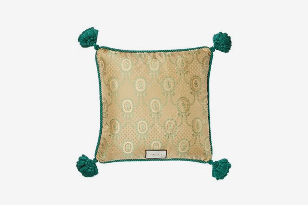 Snake Embroidered Velvet Pillow