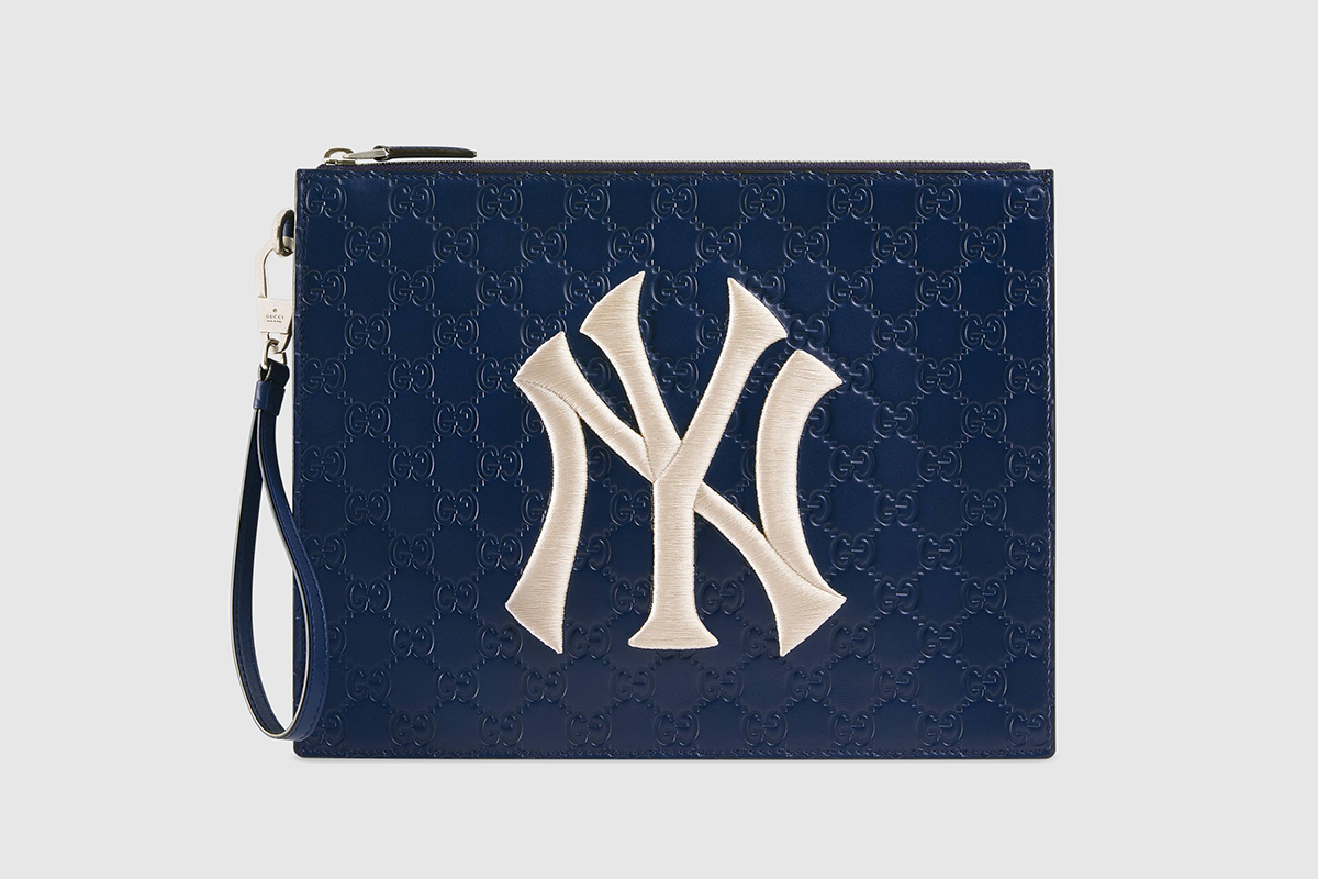 Leather Pouch With NY Yankees Patch