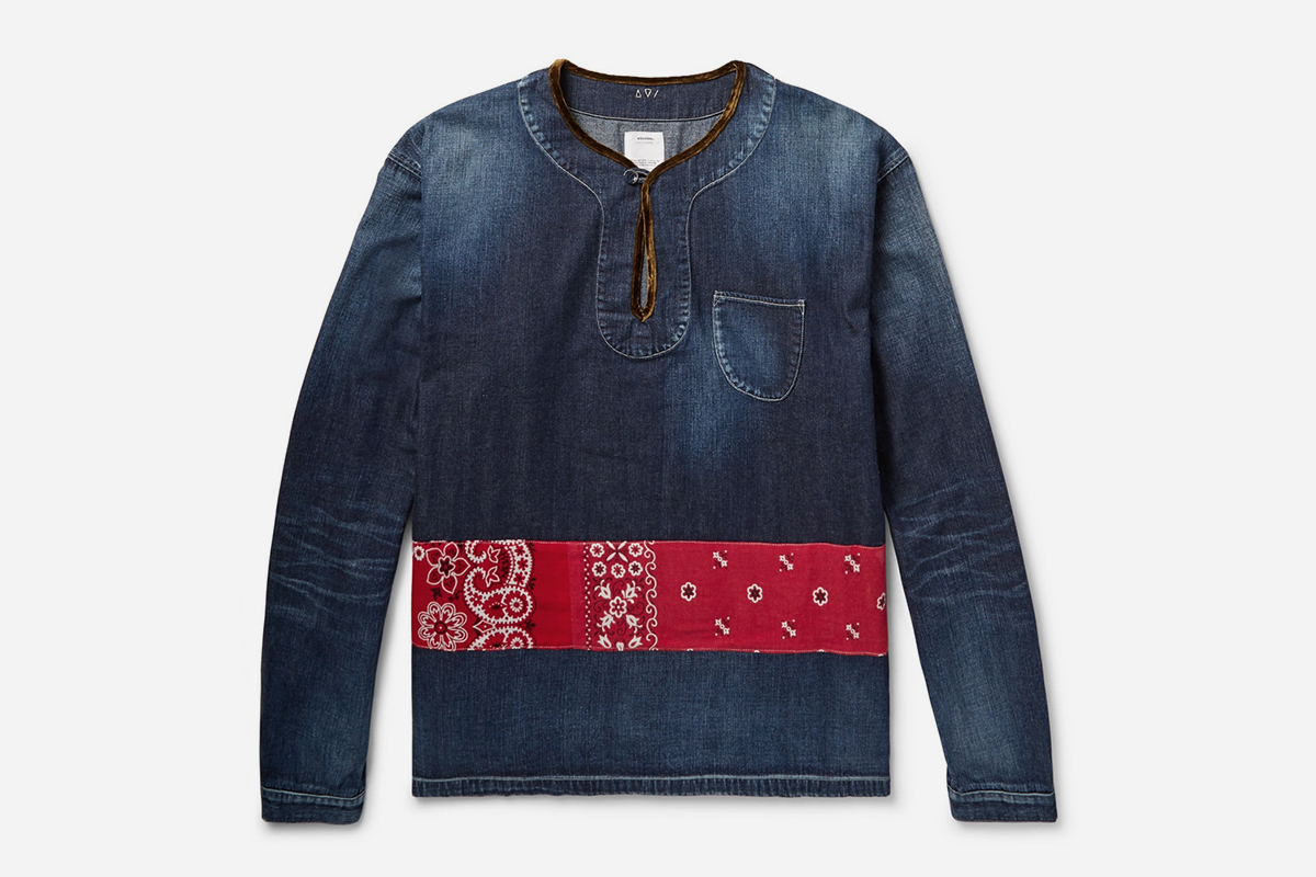 Velvet-Trimmed Panelled Denim Shirt