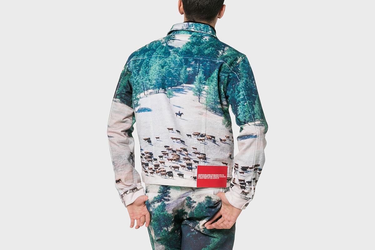 Printed Landscape Scene Denim Jacket