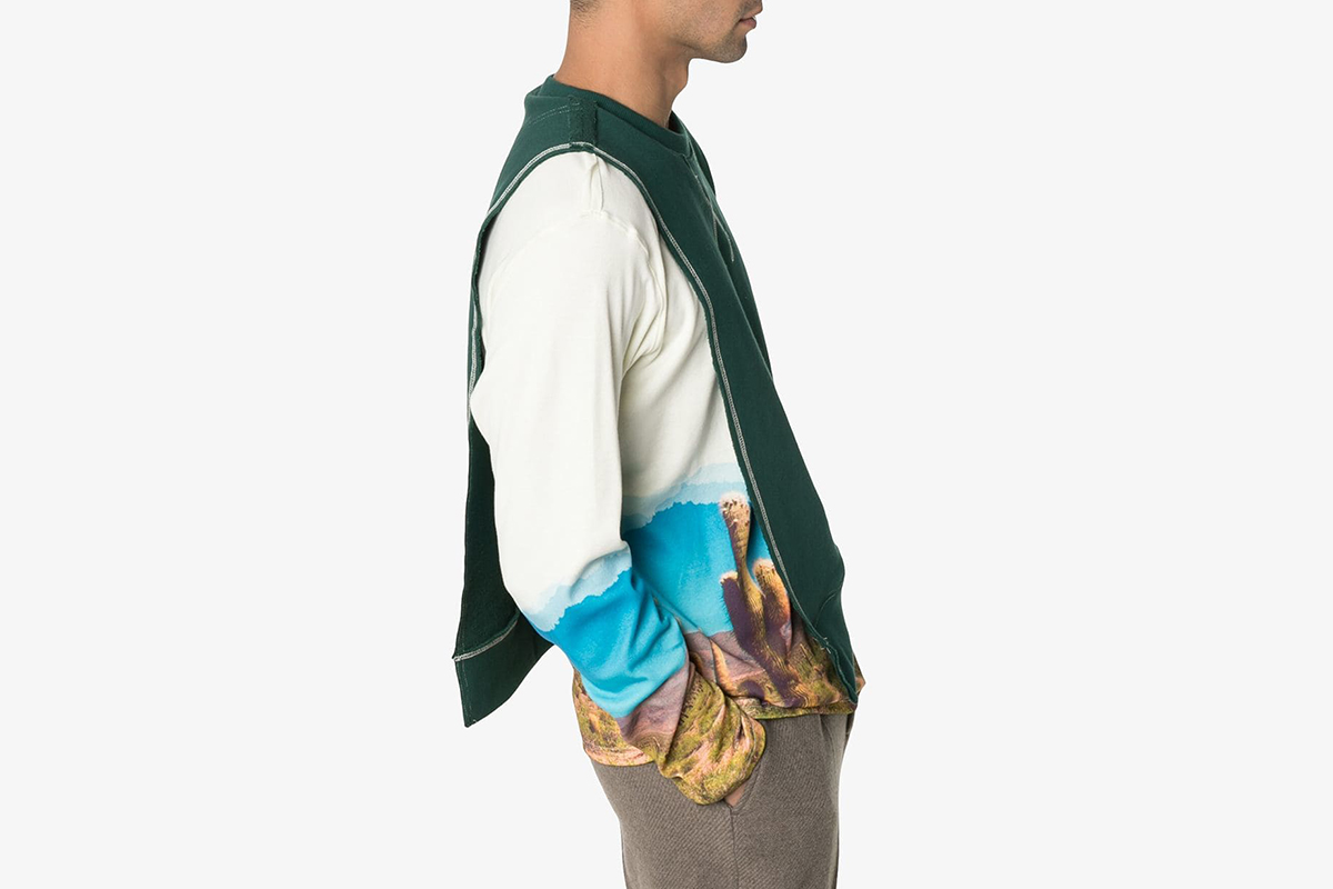 Cactus Print Layered Sweater