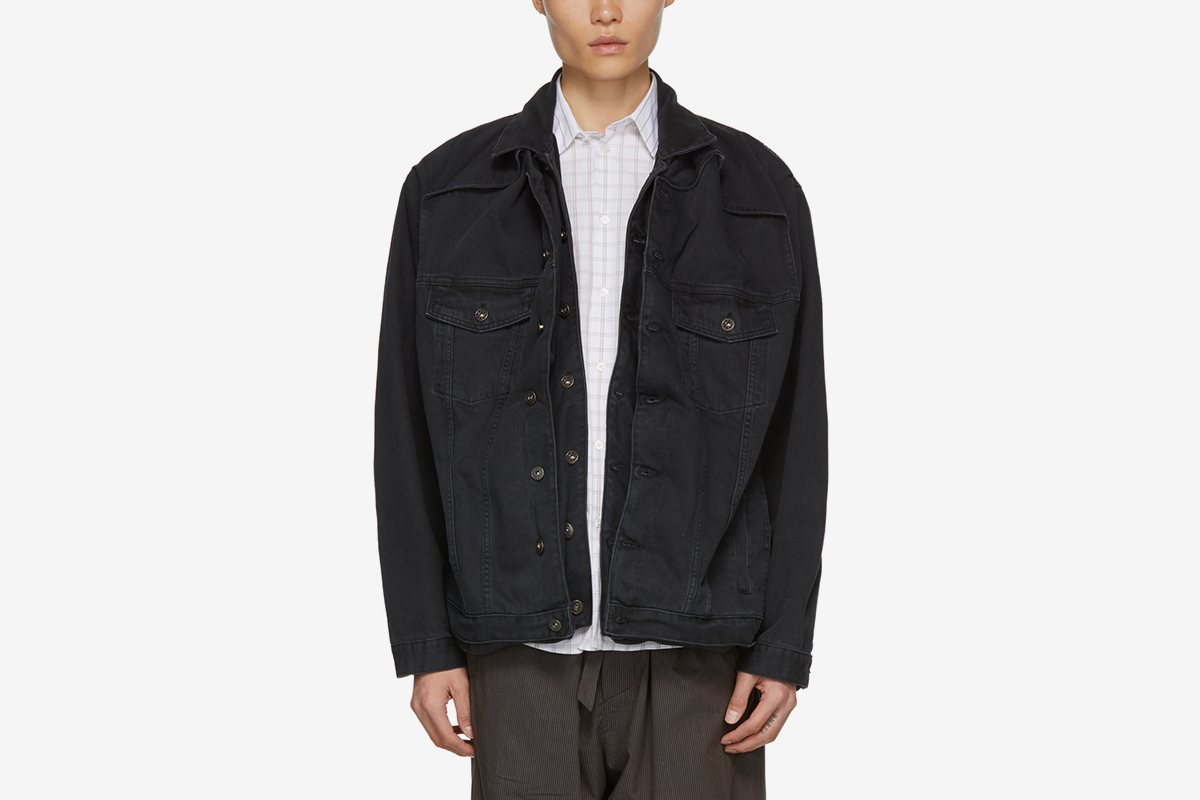 Black Denim Pop-Up Jacket