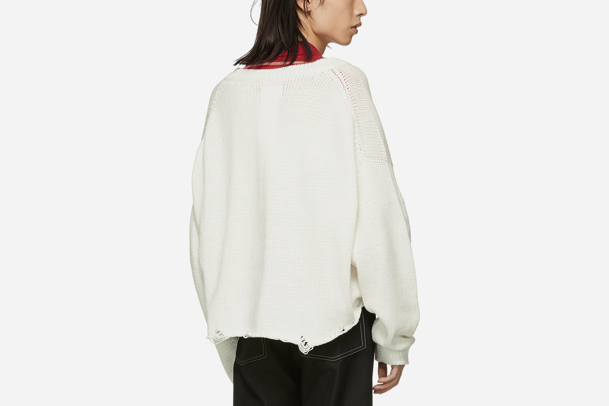 White 3D Patch Sweater