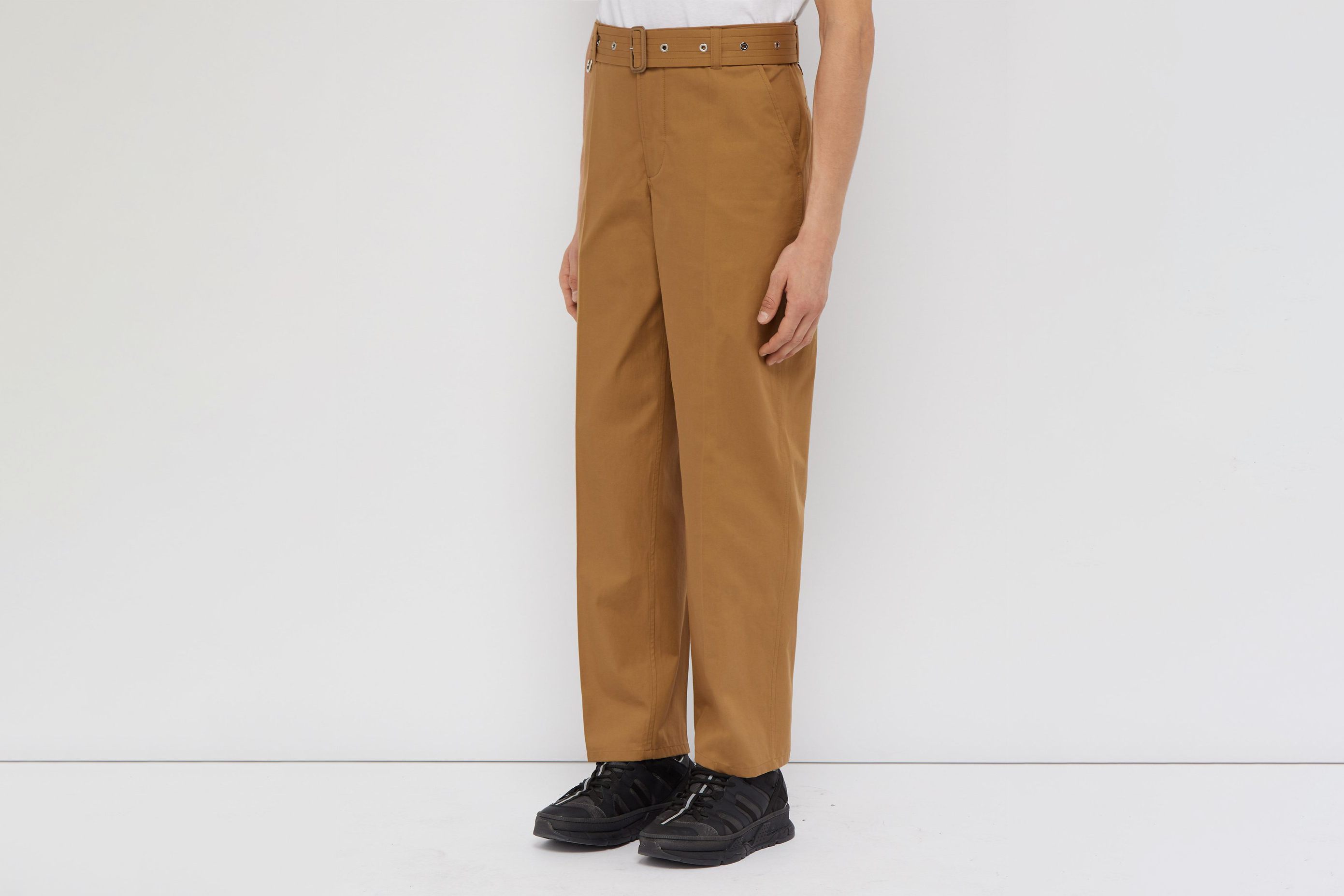 Belted Relaxed-leg Cotton-twill Trousers