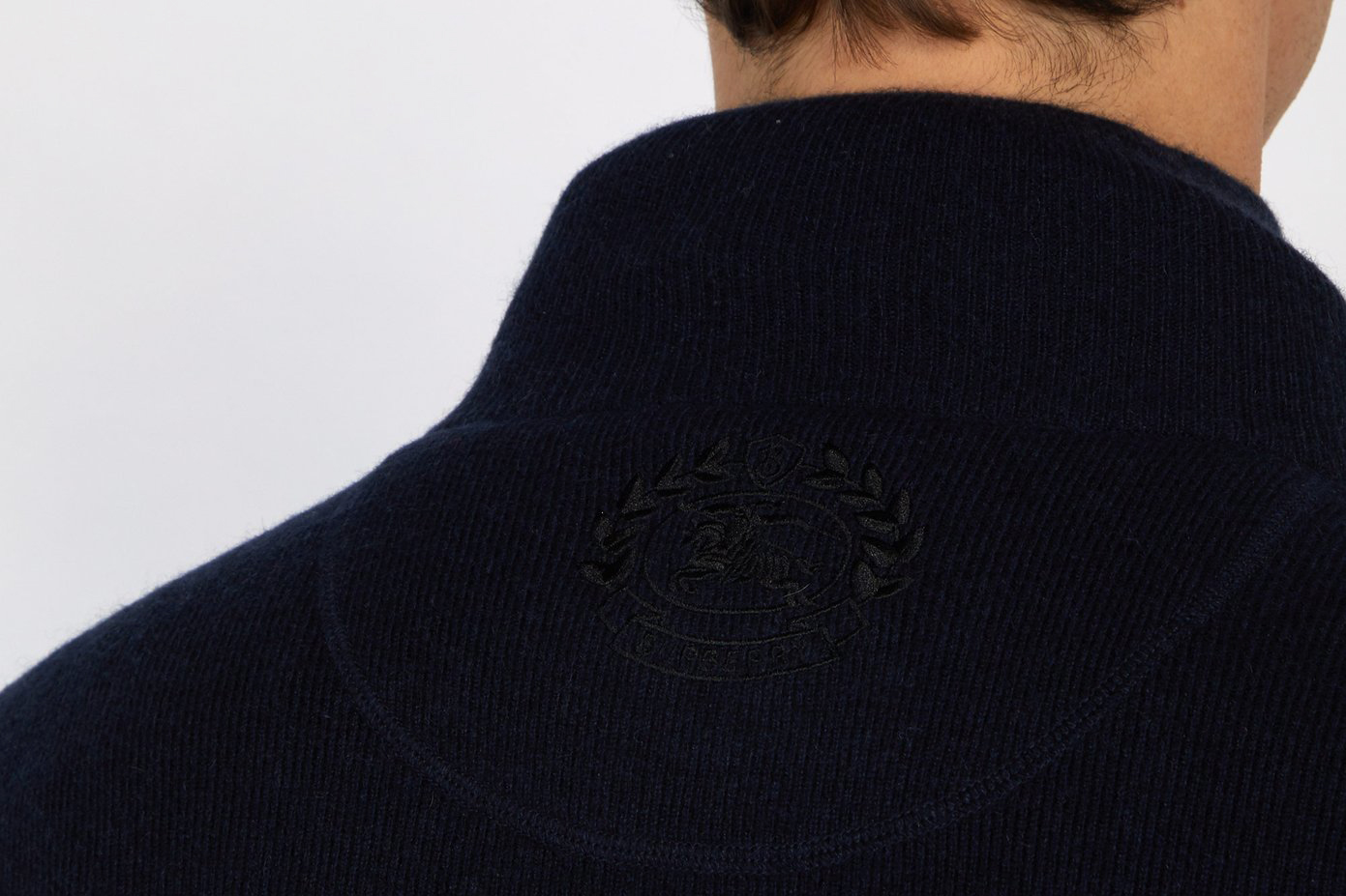 Knight-embroidered Half-zip Cashmere Sweater