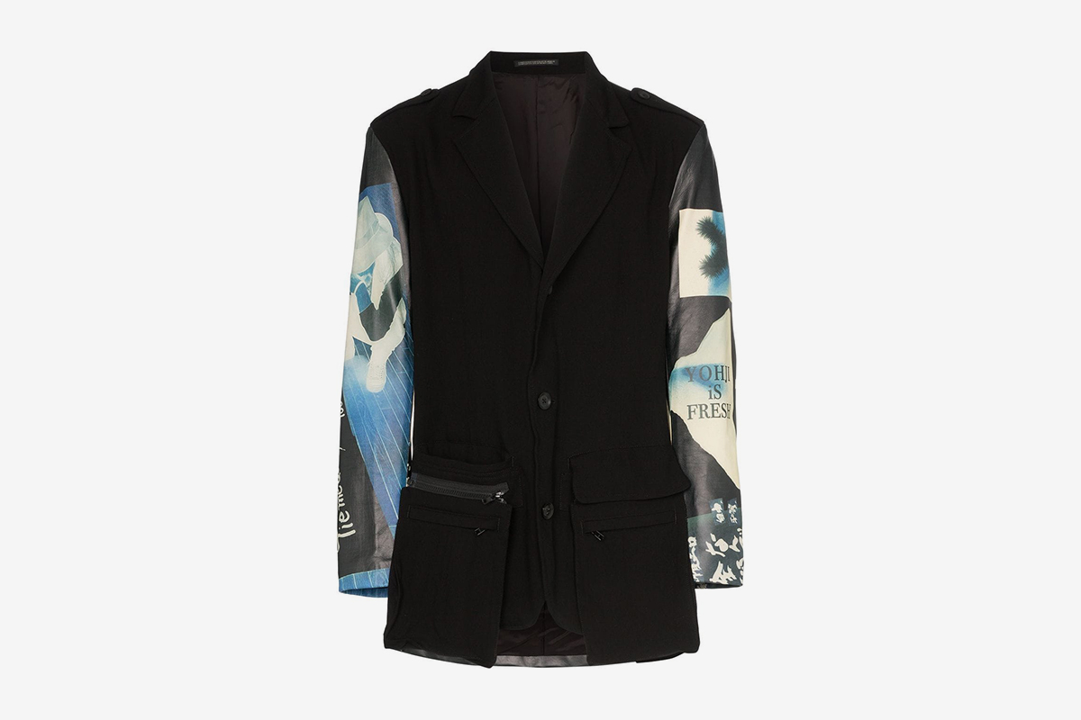Graphic Print Leather Panelled Blazer Jacket