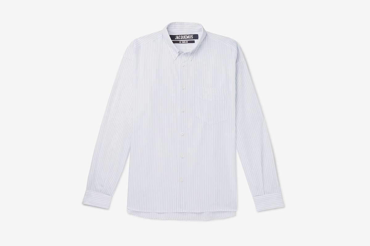 Simon Button-Down Collar Striped Cotton Shirt