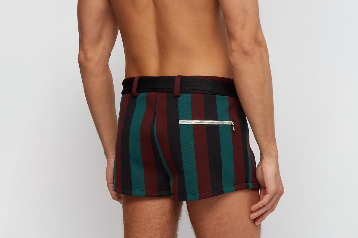 Belted Striped Swim Shorts