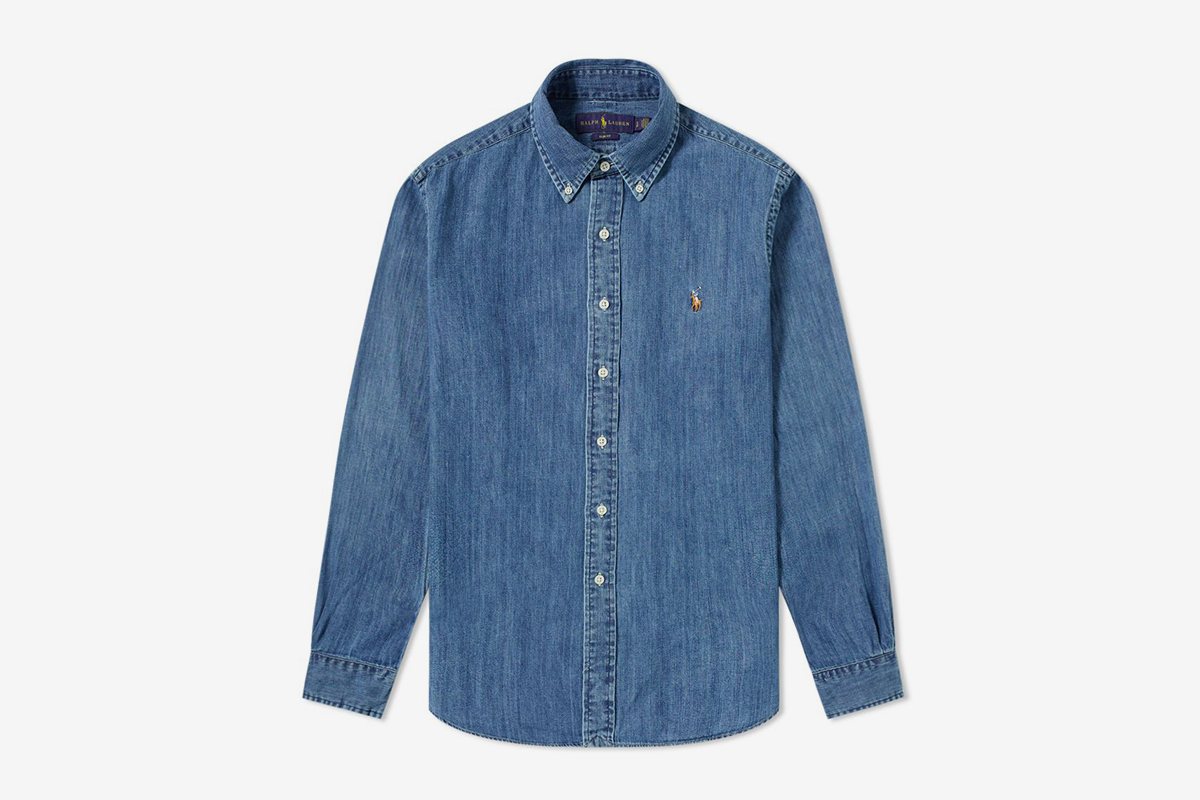 Slim Fit Button Down Denim Shirt