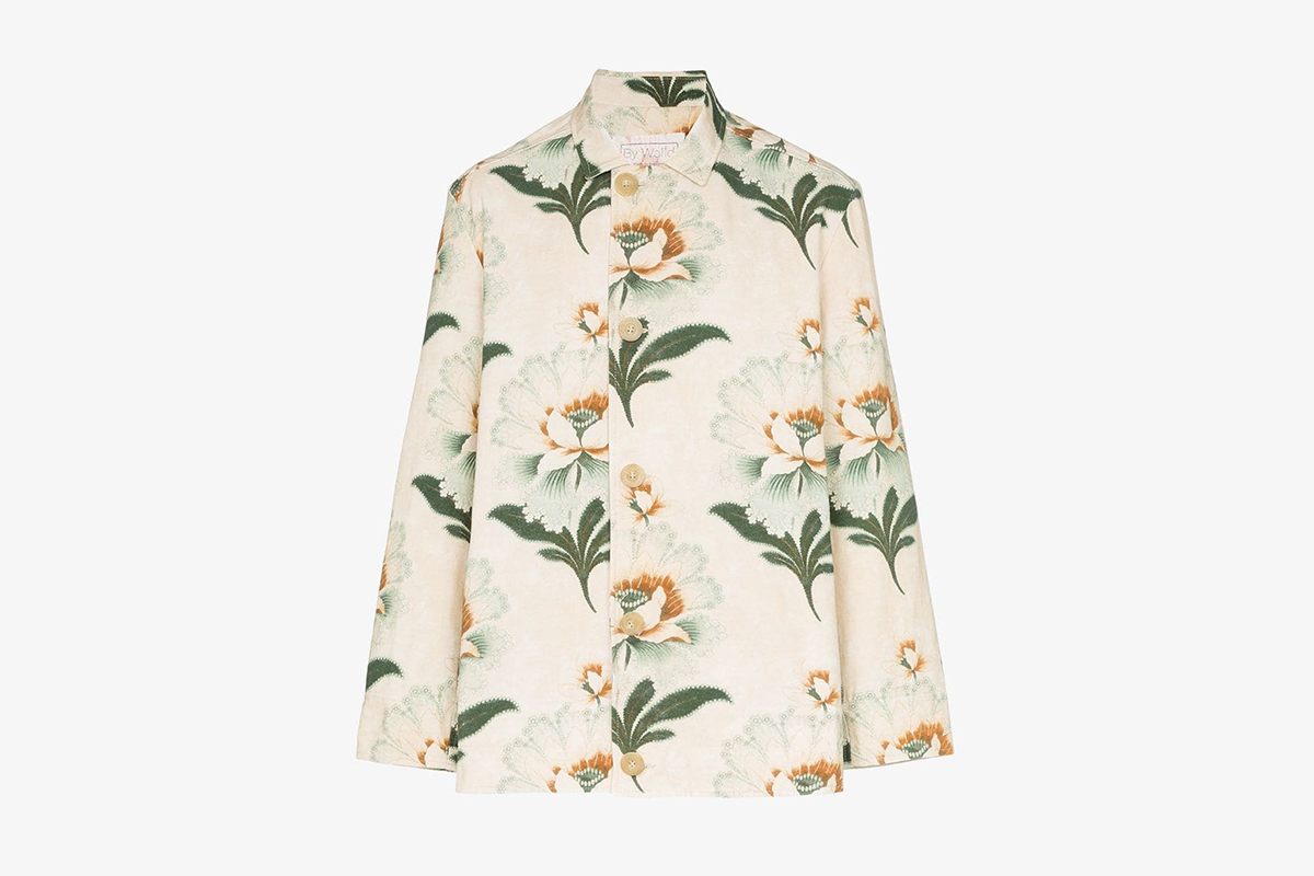 Lotus Flower Print Shirt Jacket