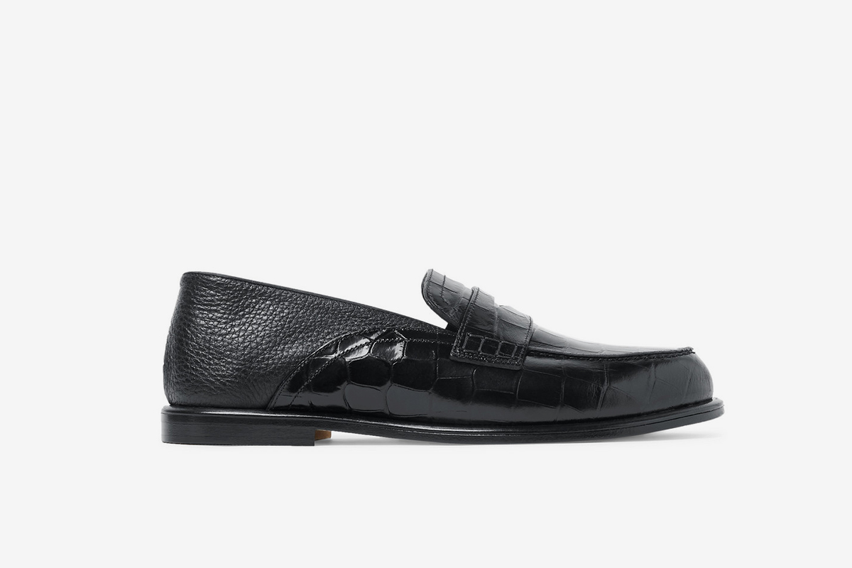 Collapsible-Heel Croc-Effect and Full-Grain Leather Penny Loafers