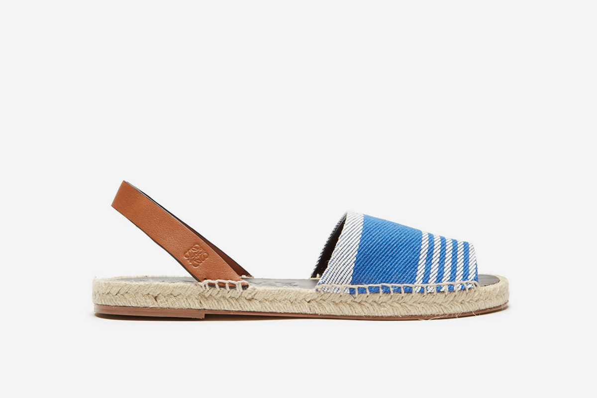 Leather and canvas espadrilles