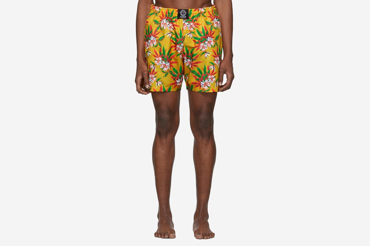 Weed Hibiscus Swim Shorts
