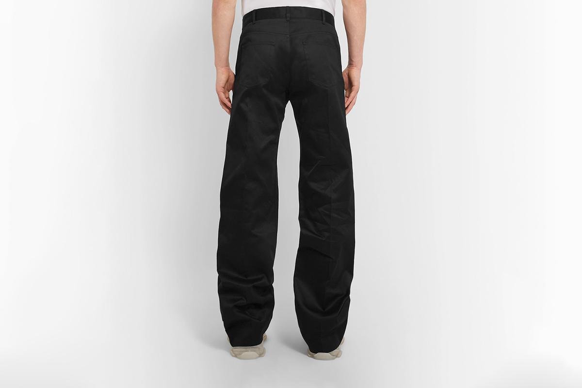 Black Wide-Leg Cotton-Twill Trousers
