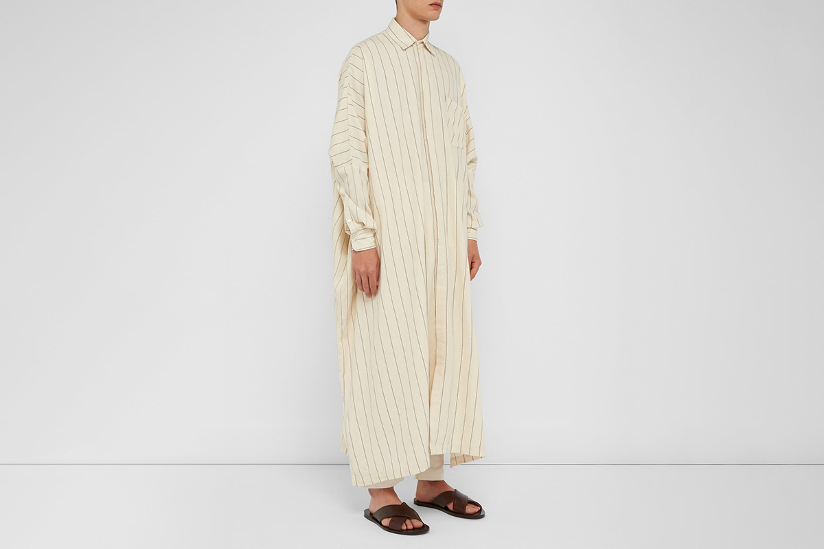 Handkerchief Hem Striped Cotton Blend Shirt