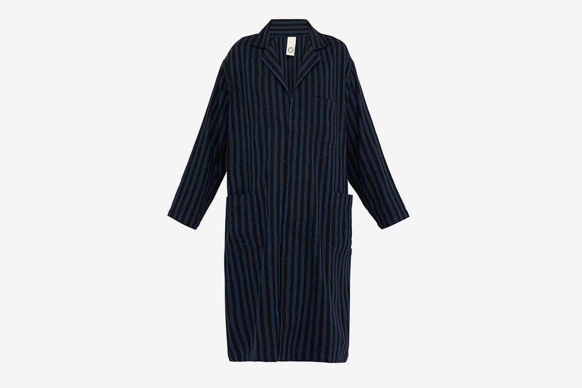 Striped Cotton Blend Lab Coat