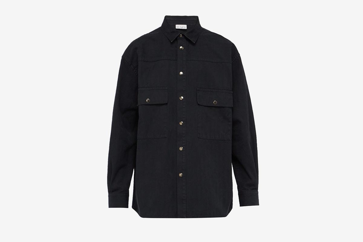 Push Stud Herringbone Cotton Overshirt
