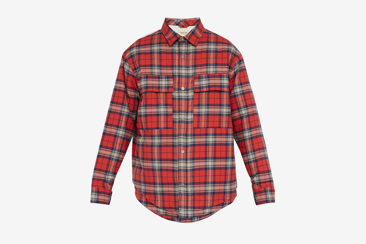 Checked Cotton Flannel Shirt Jacket
