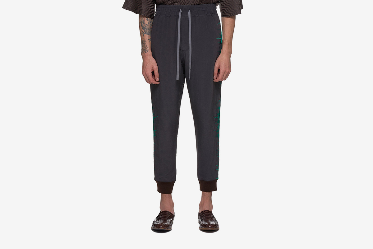 Embroidered Silk Joggers