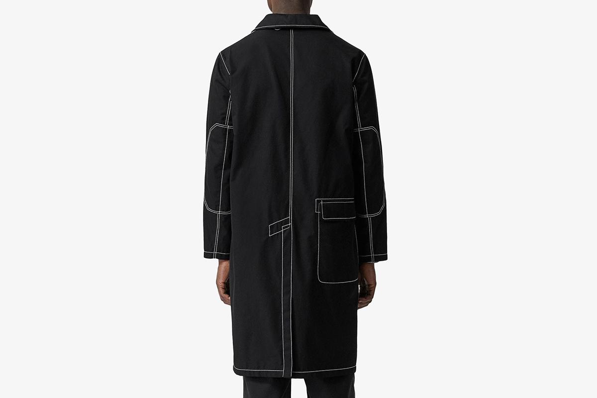 Topstitch Detail Cotton Gabardine Car Coat