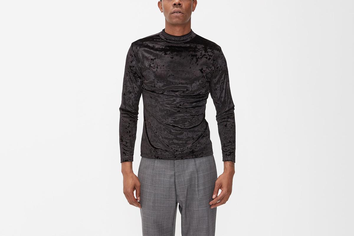 Velvet Jersey Mockneck Sweater