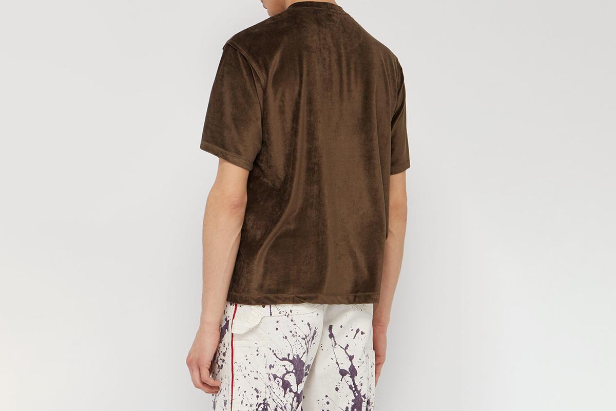Butterfly-Embroidered Velvet T-Shirt